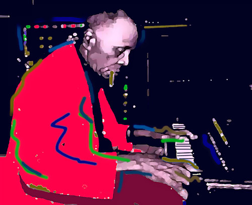 An edited photograph of jazz musician Sunnyland Slim