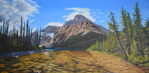 A painting of a mountain plateau