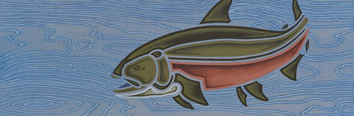 A painting of a bull trout on wood panel