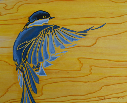 A painting of a chickadee on wood