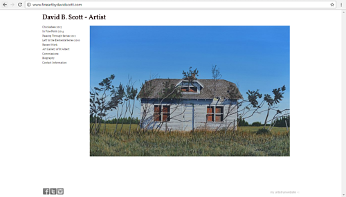 A screen capture of David B. Scott's art website
