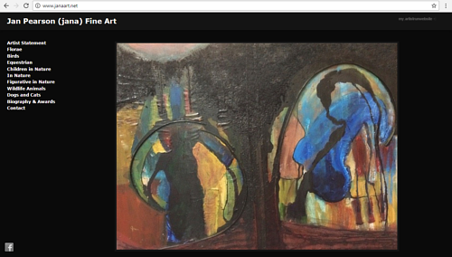 A screen capture of Jan Pearson's art website