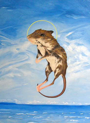 Painting of rat above water