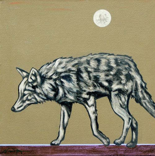 A painting of a coyote under a pale moon