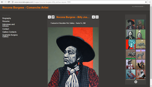 The image gallery on Nocona Burgess' art website