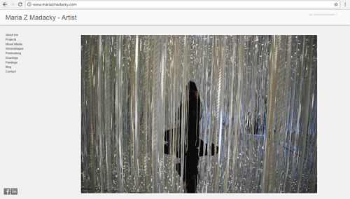 A screen capture of Maria Z. Madacky's art website