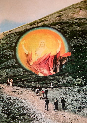 Photo of people walking up hill with collage of Jesus