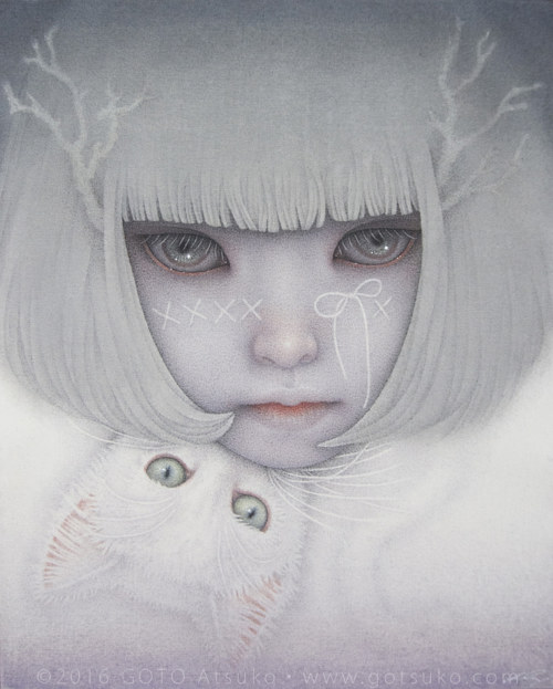 A painting of a pale girl and a white cat