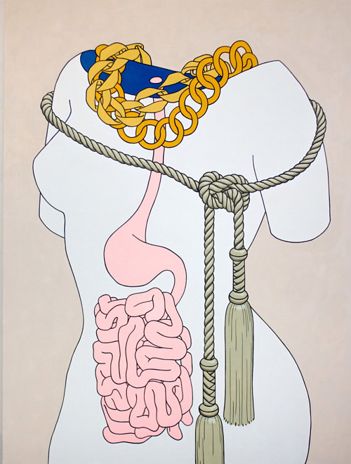 A painting of a simplified anatomical model with tassels