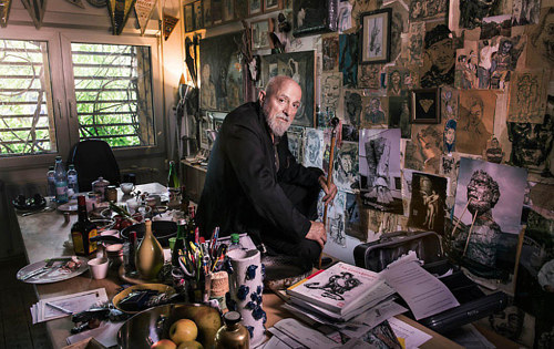A photo of artist Markus Lupertz in his studio