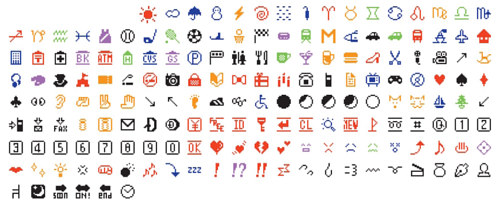 A screen capture of the original set of emoji