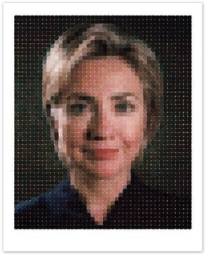 A print of a Chuck Close painting of Hillary Clinton