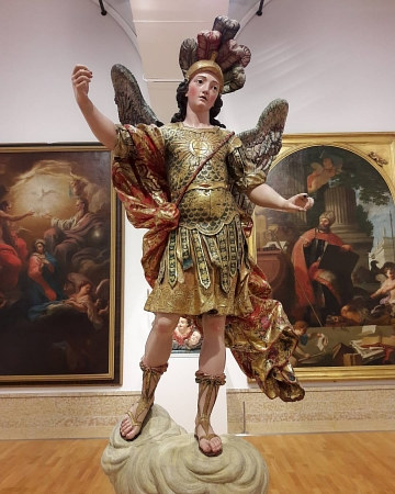 A photo of an 18th-century sculpture of Saint Michael