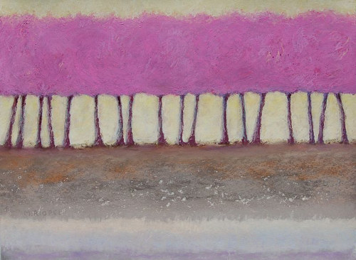 A pastel drawing of a row of pink-hued trees