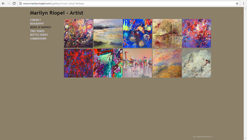 A screen capture of Marilyn Riopel's art website