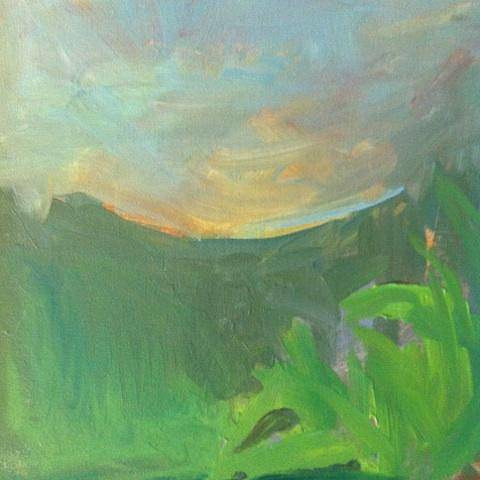 An abstracted painting of a landscape