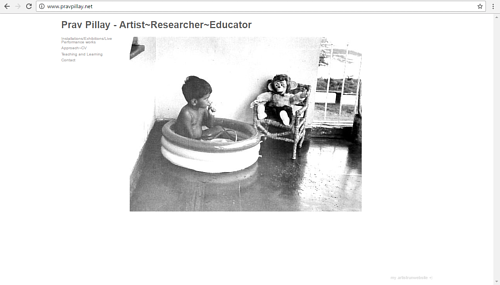 A screen capture of Prav Pillay's art website