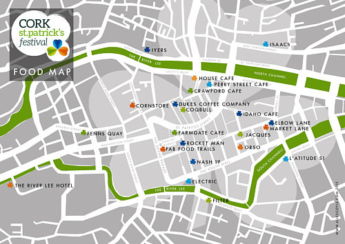 A map of restaurants in Cork for St. Patrick's Festival