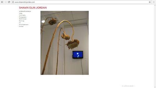 A screen capture of the front page of Shawn Jordan's art website