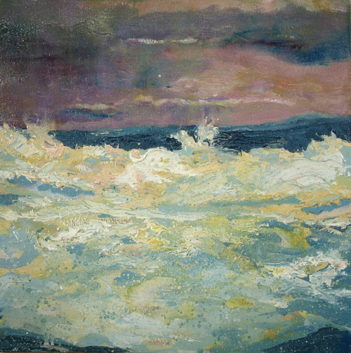 A painting of a wave crashing against the beach