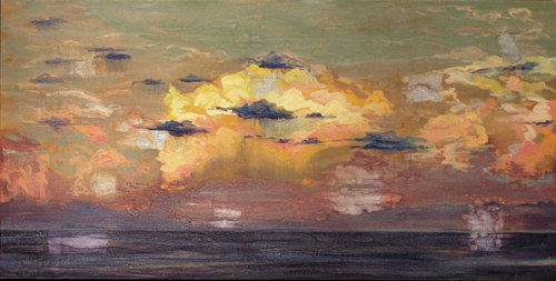 A painting of the ocean at sunset