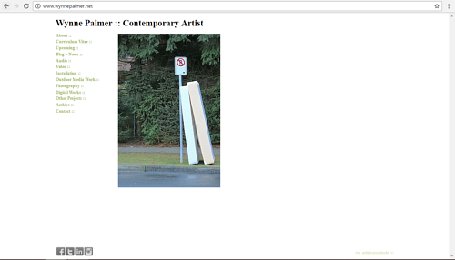 A screen capture of Wynne Palmer's art website