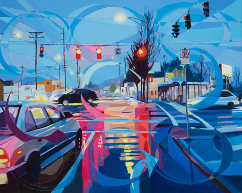 A painting of a city intersection with an overly of abstract lines