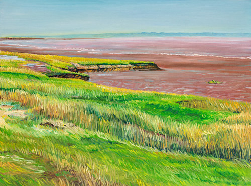 A painting of a shore with tall grasses