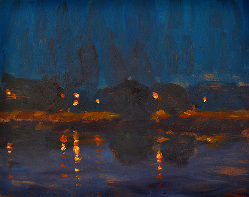 Painting of fires burning at night reflected on water