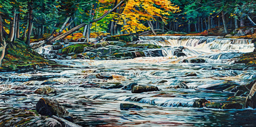 A painting of a running stream in autumn