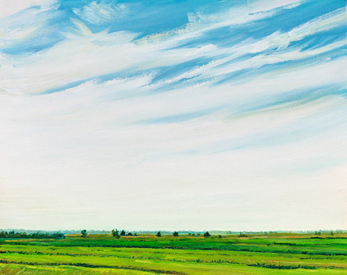 A painting of a flatland with a focus on the sky