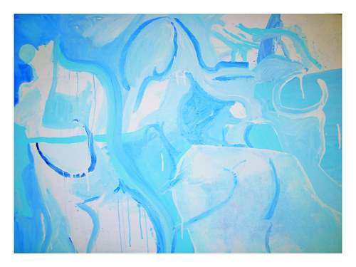 An abstract painting made in blue and white