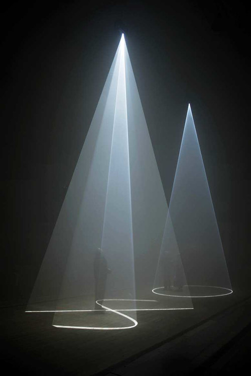 A photo of an Anthony McCall installation