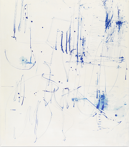 An abstract painting with splashy blue marks