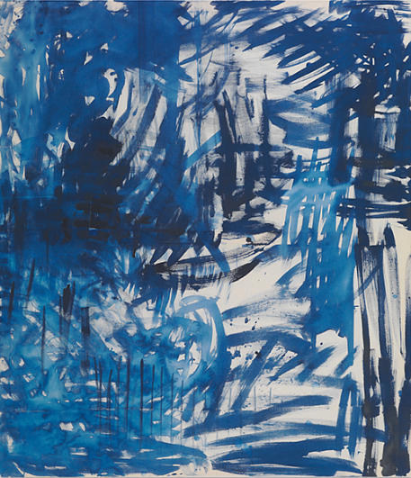 A painting made with deep blue colors and fast marks