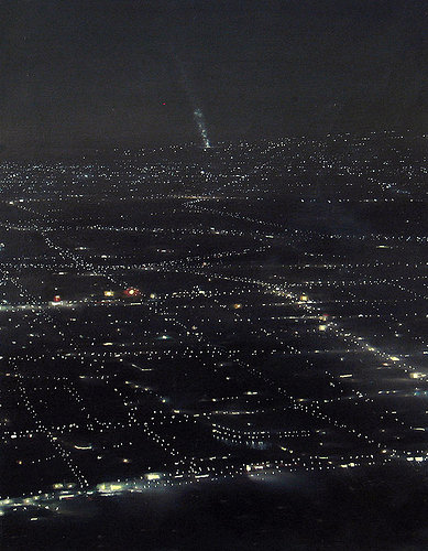 Painting of city lights at night
