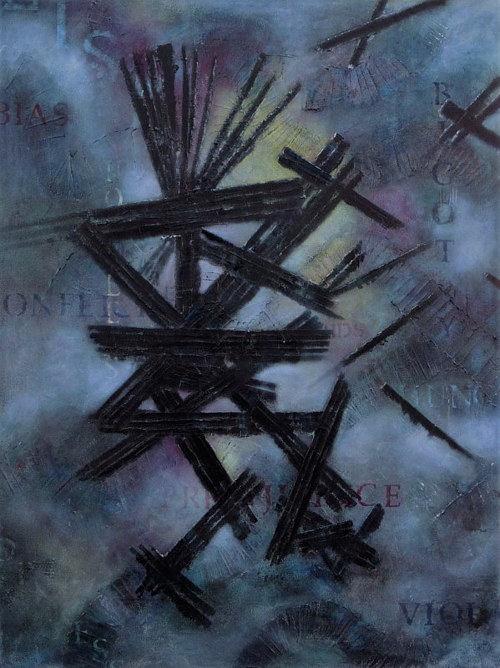 A dark abstract painting incorporating text