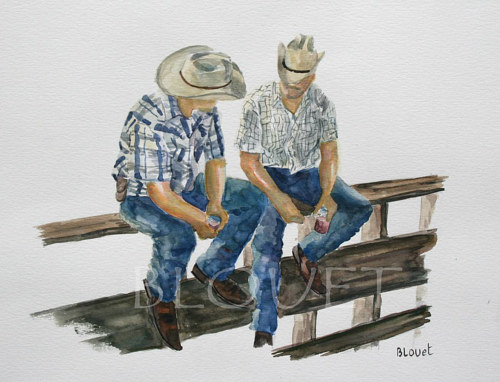 A watercolor painting of two men in cowboy hats