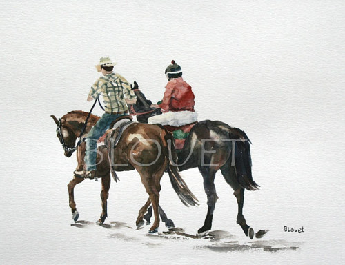 A watercolor painting of two men on horseback