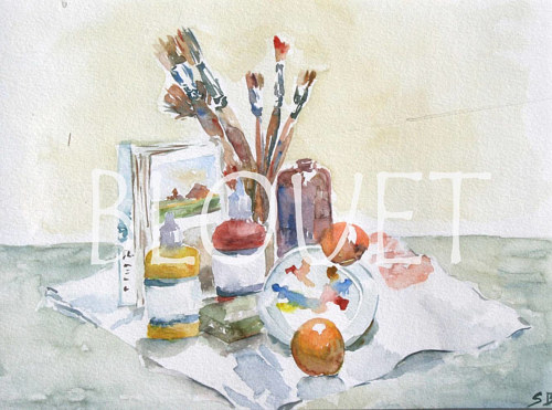 A watercolor painting of some paint supplies