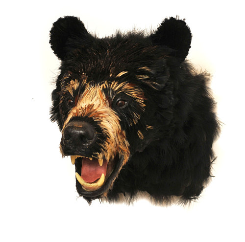 A faux taxidermy of a bear's head