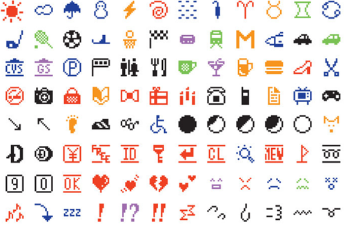 A set of the original emoji by Shigetaka Kurita