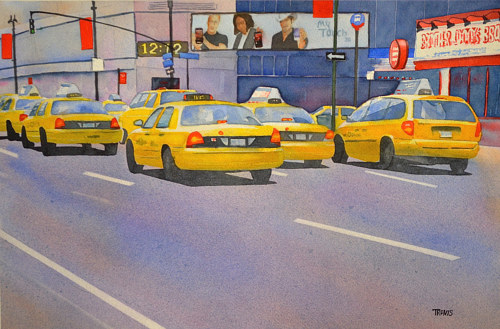 A watercolor painting of New York taxis