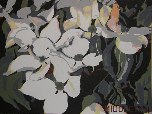 A painting of some Dogwood flowers
