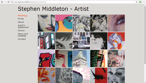 The painting gallery on Stephen Middleton's art website