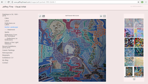 A screen capture of Jeffrey Fine's art website