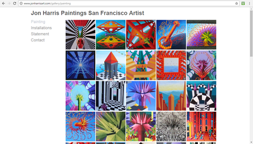 A screen capture of Jon Harris' online painting portfolio