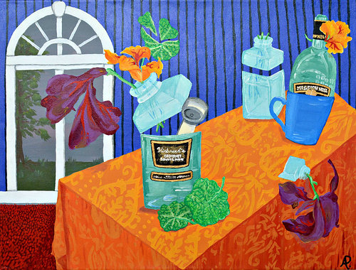 painting of bottles on a table with an ornate pattern on the table cloth
