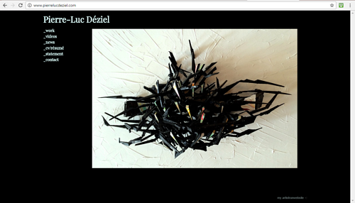 A screen capture of Pierre-Luc Deziel's art website