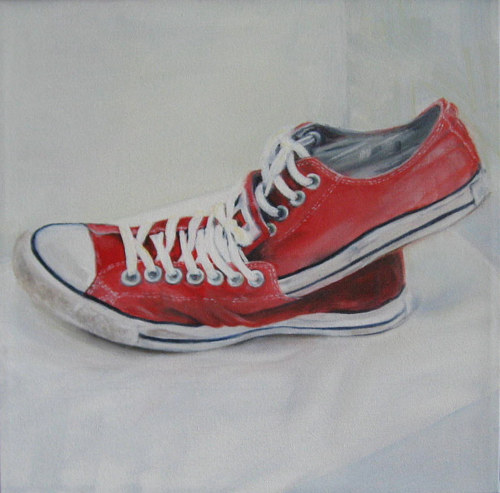 A painting of a pair of Chuck Taylor sneakers